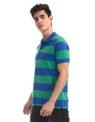 Ruggers Blue and Green Striped Polo Shirt