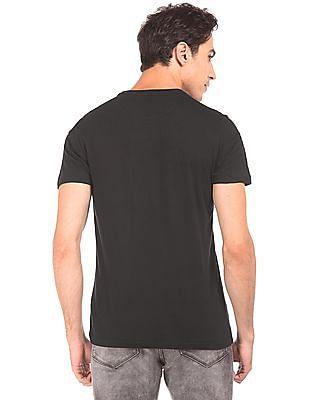 Flying Machine Printed Chest Regular Fit T-Shirt