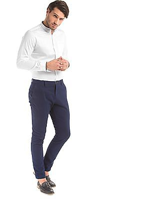 True Blue Contrast Trim Slim Fit Shirt