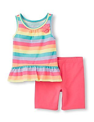 The Children's Place Toddler Girl Sleeveless Printed Tank Top And Solid Shorts Set