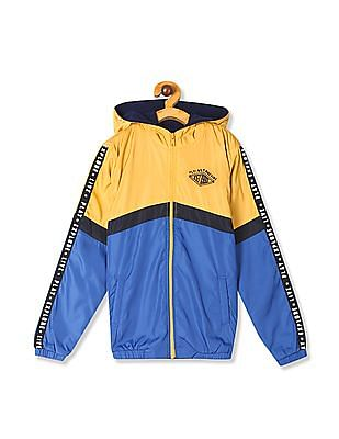 FM Boys Yellow And Blue Hooded Colour Block Jacket