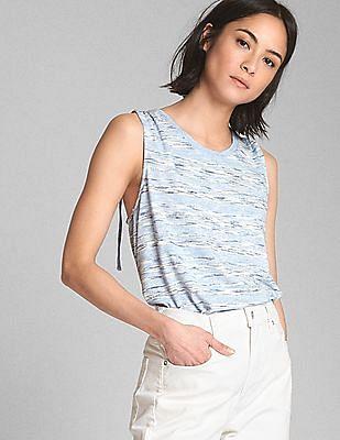 GAP Women Blue Softspun Stripe Tank Top