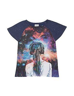 Cherokee Girls Galaxy Print Lace Sleeve Top