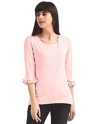 Elle Studio Pink Bell Sleeve Embellished Top