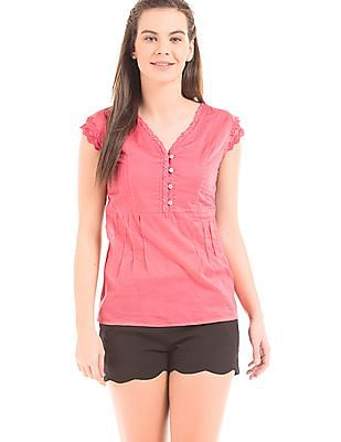 Cherokee Lace Trim V-Neck Top