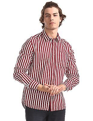 Flying Machine Red And White Vertical Stripe Cotton Shirt