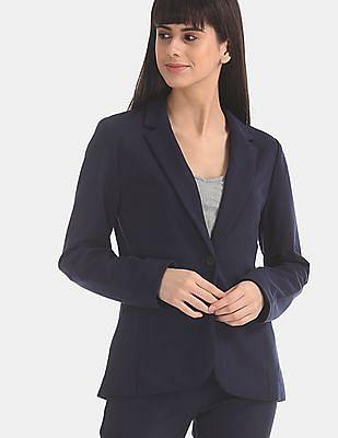 GAP Blue Solid Single Breasted Blazer