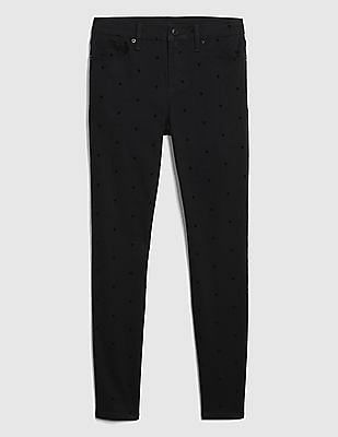GAP Mid Rise True Skinny Jeans with Polka Dots