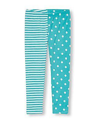 The Children's Place Girls Dot And Stripe Split-Print Leggings