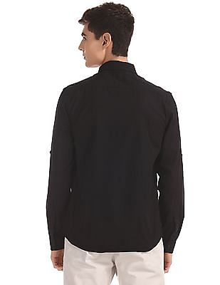 Colt Black Roll Up Sleeve Solid Shirt