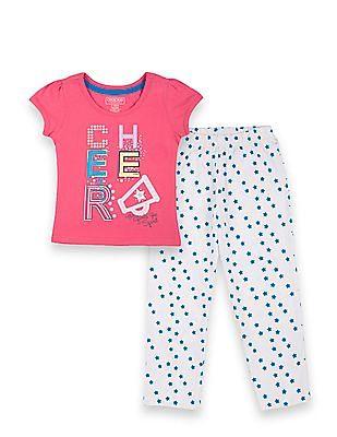 Cherokee Girls Printed T-Shirt And Pyjama Set