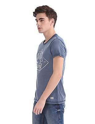 Ed Hardy Foil Print Round Neck T-Shirt