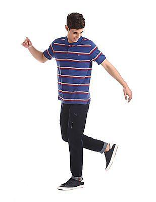 Ruggers Blue Ribbed Sleeve Hem Striped Polo Shirt
