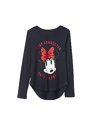 GAP Girls Blue Disney Mickey And Minnie Sequin Graphic Tee