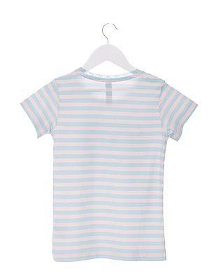 U.S. Polo Assn. Kids Girls Regular Fit Round Neck T-Shirt