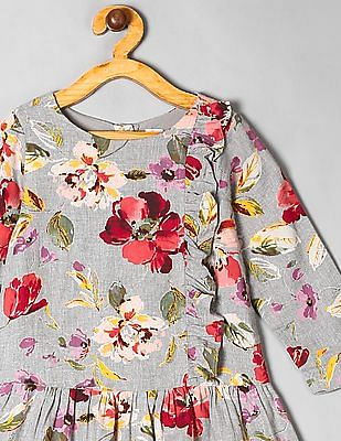 GAP Grey Toddler Girl Floral Drop-Waist Dress