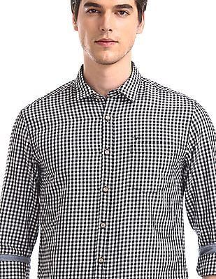 Flying Machine Black Barrel Cuff Check Shirt