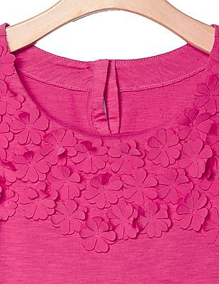 GAP Girls Pink Floral Applique Tee