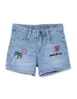 Cherokee Girls Embroidered Denim Shorts
