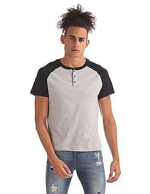 Aeropostale Raglan Sleeve Henley T-Shirt