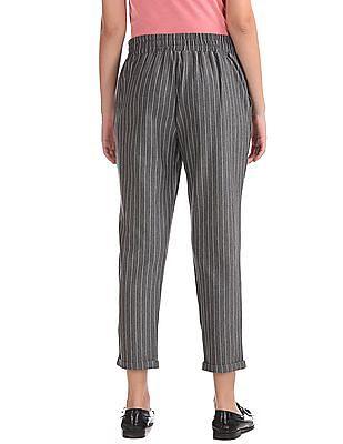SUGR Upturned Hem Striped Pants