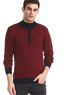 Arrow Sports Red Half Zip Patterned Sweater