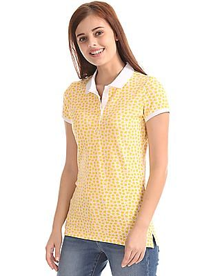 GAP Women White Short Sleeve Print Polo