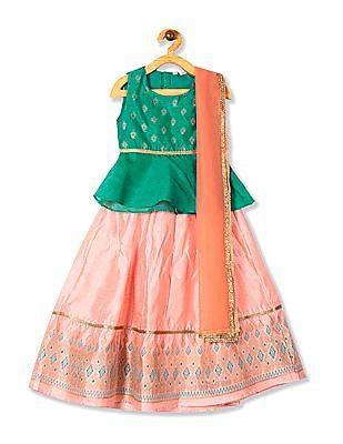 Karigari Assorted Girls Skirt Top And Dupatta Set