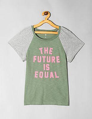 GAP Girls Green Raglan Sleeve T-Shirt