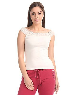Aeropostale Lace Trim Off Shoulder Top