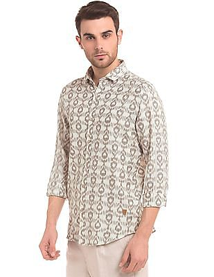 True Blue Ikat Print Slim Fit Shirt