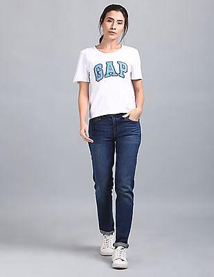 GAP Women White Waist Crop Tee With Glitter Print Logo