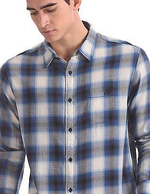 Aeropostale Blue Cotton Check Shirt