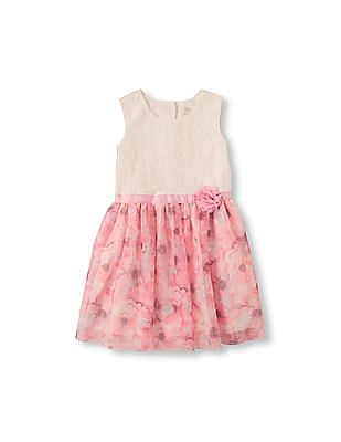 The Children's Place Toddler Girl Pink Sleeveless Lace-To-Floral Flare Dress