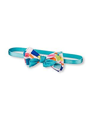 The Children's Place Toddler Girl Blue 3D Paintbrush Print Bow Headwrap