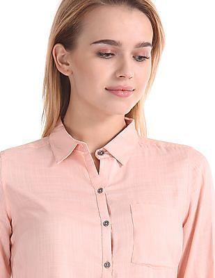 Flying Machine Women Regular Fit Patterned Weave Shirt