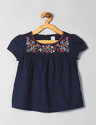 GAP Girls Embroidered Yoke Top