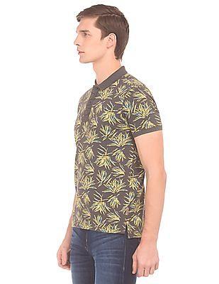 Flying Machine Tropical Print Pique Polo Shirt
