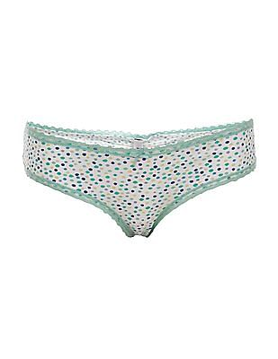 Aeropostale Dot Print Lace Trim Panties