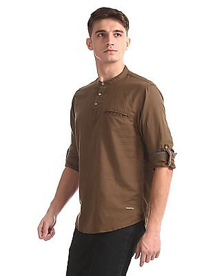 Cherokee Brown Mandarin Collar Popover Shirt