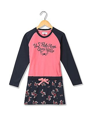 U.S. Polo Assn. Kids Raglan Sleeve Floral Print Drop Waist Dress