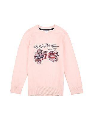 U.S. Polo Assn. Kids Girls Flag Print Raglan Sleeve Sweater