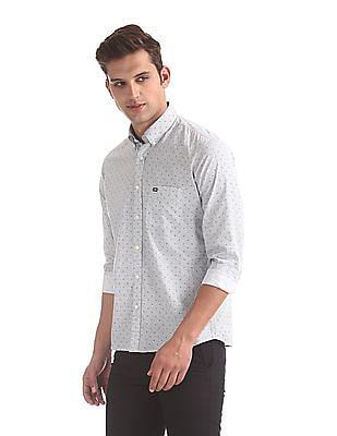 Arrow Sports White Button Down Collar Printed Shirt