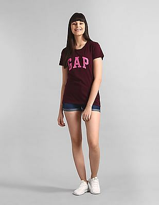 GAP Purple Logo Short Sleeve Crewneck T-Shirt