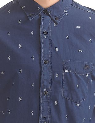 Aeropostale Tool Print Button Down Shirt