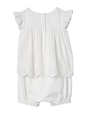 GAP Baby White Eyelet Double Layer Shorty One Piece