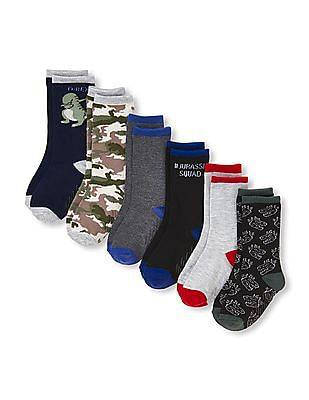The Children's Place Toddler Boy Dino Crew Socks 6-Pack