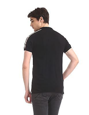 Flying Machine Black Shoulder Taping Pique Polo Shirt