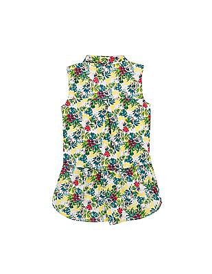 Cherokee Girls Floral Print Layered Romper