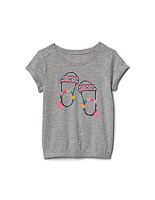GAP Toddler Girl Grey Embellished Graphic Bubble Tee